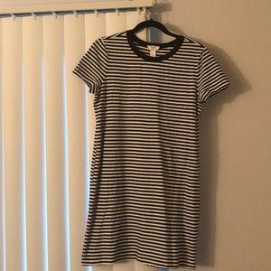 Black and white striped t shirt dress.